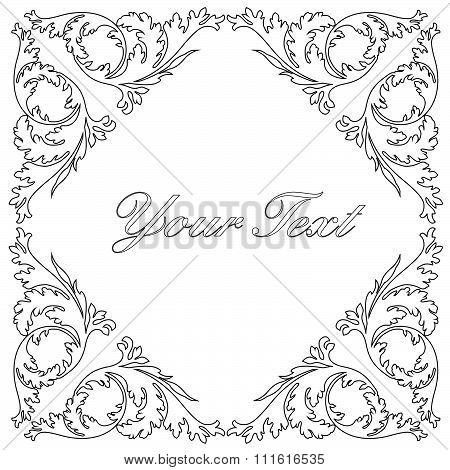 Vintage baroque frame scroll ornament engraving border floral retro pattern antique style