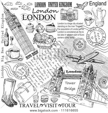London hand drawn