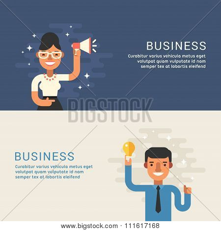 People Profession Concept. Businessman. Male And Female Cartoon Characters. Flat Design Concepts For