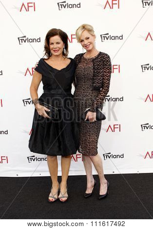 Marcia Gay Harden and Melanie Griffith at the AFI Life Achievement Award Honoring Shirley MacLaine held at the Sony Studios in Los Angeles, USA on June 7, 2012.
