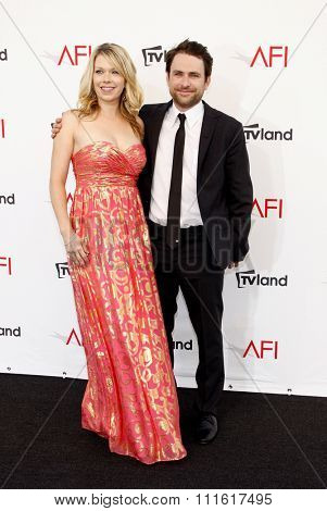 Charlie Day and Mary Elizabeth Ellis at the AFI Life Achievement Award Honoring Shirley MacLaine held at the Sony Studios in Los Angeles, USA on June 7, 2012.