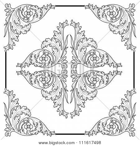 Vintage baroque frame scroll ornament engraving border floral retro pattern antique style