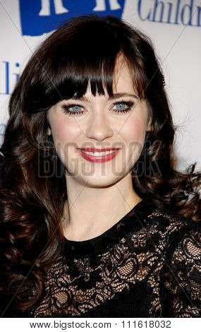 Zooey Deschanel at the Alliance for Children's Rights Dinner Honoring Kevin Reilly held at the Beverly Hilton Hotel in Beverly Hills, USA on March 1, 2012.