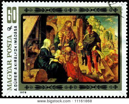 Vintage  Postage Stamp. Albrecht Durer. Adoration Of The Kings.