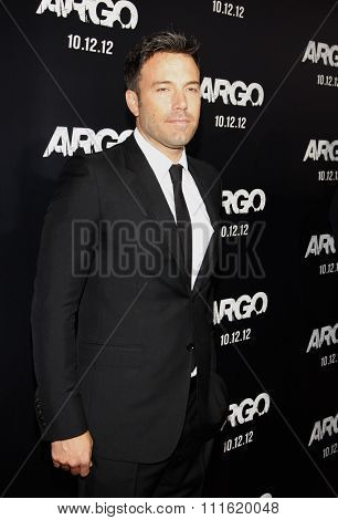 Ben Affleck at the Los Angeles premiere of 'Argo' held at the AMPAS Samuel Goldwyn Theater in Beverly Hills, USA on October 4, 2012.