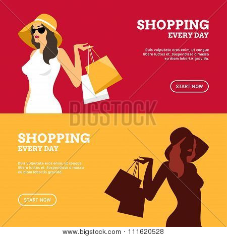 Shopping Everyday. Girl With Shopping Bags. Set Of Flat Design Concepts For Web Banners And Promotio