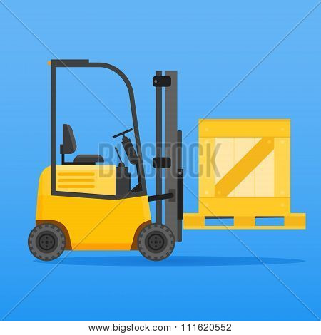Forklift truck with wooden crate
