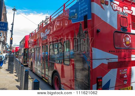 Double-decker Tourist Bus At The Center Of London