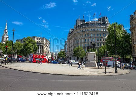 The Charing Cross With  Equestrian Statue Of Charles I  Near Trafalgar Square . London. Uk
