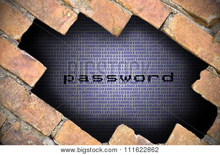 Business Concept For Data Security - Hole In Brick Wall With Binary Digit Background Inside With Pas