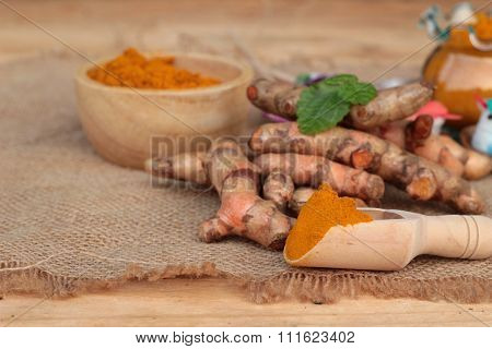 Turmeric Herb Yellow Powder And Fresh Turmeric.