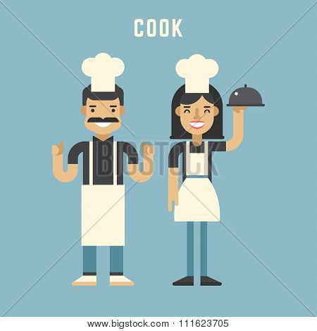 Cook Concept. Male And Female Cartoon Characters. Flat Design Vector Illustration