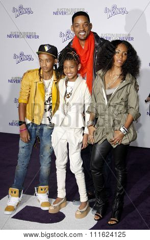 February 8, 2011. Will Smith, Jada Pinkett Smith, Jaden Smith and Willow Smith at the Los Angeles premiere of