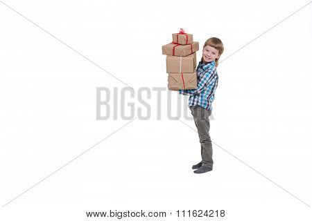 Happy Boy With Gifts