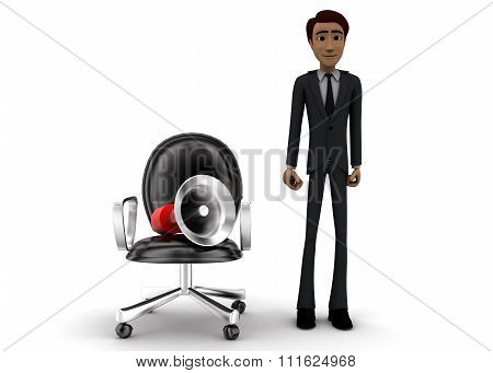 3D Man Presenting Megaphone With Moving Chair Concept