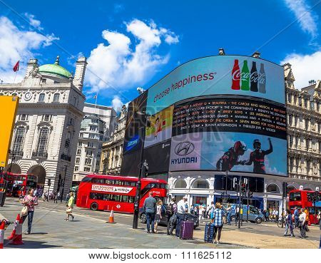 View Of Piccadilly Circus  In London. Billboards Famous Brands Have Been Here For At Least 20 Years