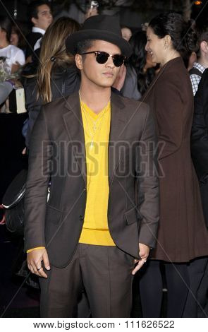Bruno Mars at the Los Angeles premiere of 'The Twilight Saga: Breaking Dawn Part 1' held at the Nokia Theatre L.A. Live in Los Angeles, USA on November 14, 2011.