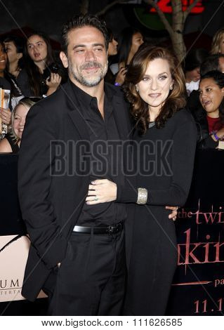 Jeffrey Dean Morgan and Hilarie Burton at the Los Angeles premiere of 'The Twilight Saga: Breaking Dawn Part 1' held at the Nokia Theatre L.A. Live in Los Angeles, USA on November 14, 2011.