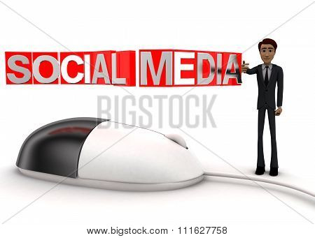 3D Man With Computer Wired Mouse And Social Media Text On Wire Concept