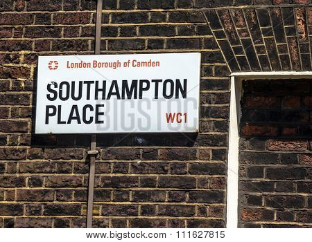 Street Sign Of Southampton Place In Borough Of Camden At Central London, United Kingdom