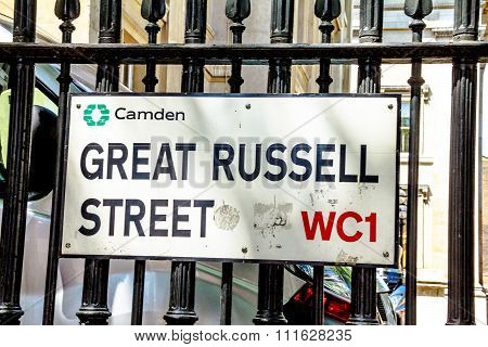Great Russell Street Sign  In Borough Of Camden At Central London, United Kingdom