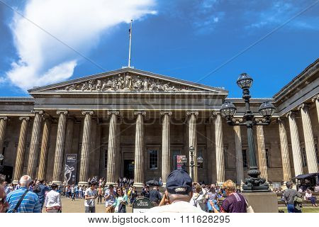 British Museum Entrance. The British Museum Was Established In 1753, And Features A Collection Of Ov
