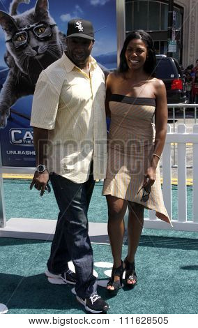 Michael Clarke Duncan and Omarosa at the Los Angeles Premiere of