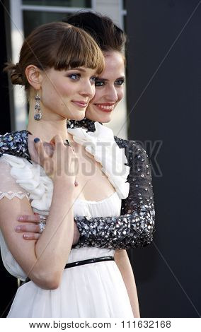 Eva Green and Bella Heathcote at the Los Angeles premiere of 'Dark Shadows' held at the Grauman's Chinese Theater in Hollywood, USA on May 7, 2012.