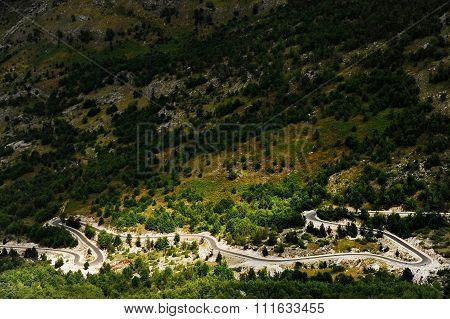 Winding Mountain Road In Albania