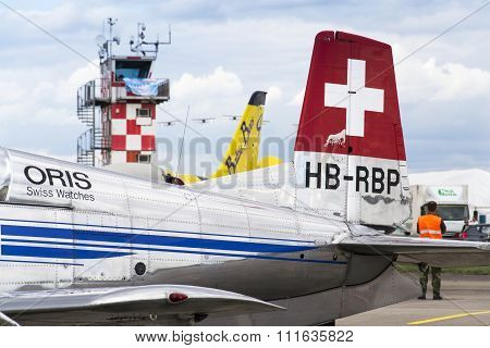 Hradec Kralove, Czech Republic - September 5: Swiss Pilatus Warbird Aerobatic Team P3 Flyers Aeropla