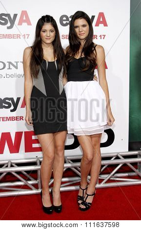 HOLLYWOOD, CALIFORNIA - September 13, 2010. Kylie Jenner and Kendall Jenner at the Los Angeles premiere of