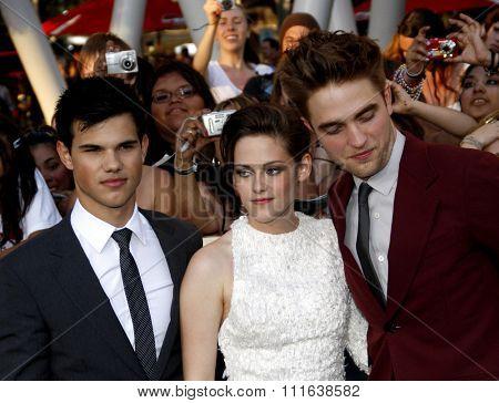Taylor Lautner, Kristen Stewart and Robert Pattinson at the