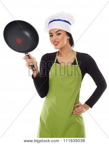 Hispanic Lady Cook With Frying Pan