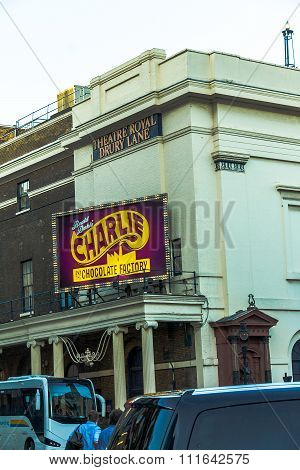 Theatre Royal Drury Lane  With  Charlie Chocolate Factory Displays