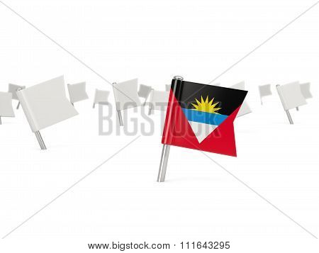 Square Pin With Flag Of Antigua And Barbuda