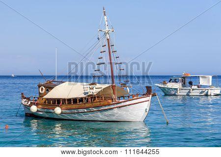 Traditional  Greek sailing boat at Crete island, Greece