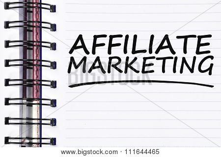 Affiliate Marketing Words On Spring White Note Book