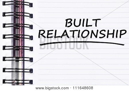 Built Relationship Words On Spring Note Book
