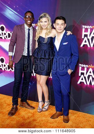 LOS ANGELES, CALIFORNIA - November 17, 2012. Carlos Knight, Gracie Dzienny and Ryan Potter at the 2012 Halo Awards held at the Hollywood Palladium in Los Angeles.