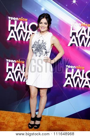 LOS ANGELES, CALIFORNIA - November 17, 2012. Lucy Hale at the 2012 Halo Awards held at the Hollywood Palladium in Los Angeles.
