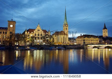 Amazing Night photo of Zurich and Limmat River