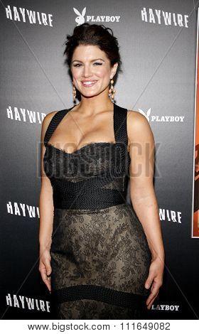 HOLLYWOOD, CALIFORNIA - January 5, 2012. Gina Carano at the Los Angeles premiere of