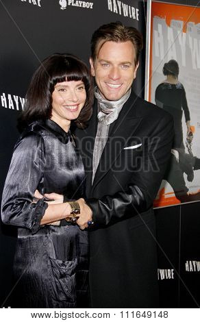 HOLLYWOOD, CALIFORNIA - January 5, 2012. Ewan McGregor and wife Eve Mavrakis at the Los Angeles premiere of