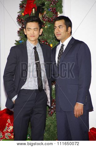 HOLLYWOOD, CALIFORNIA - November 2, 2011. John Cho and Kal Penn at the Los Angeles premiere of