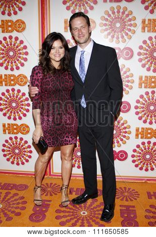 WEST HOLLYWOOD, CALIFORNIA - September 18, 2011. Tiffani Thiessen and Brady Smith at the HBO's 2011 Emmy After Party held at the Pacific Design Center, Los Angeles.