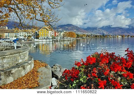 Amazing Panorama with flowers of Vevey, canton of Vaud