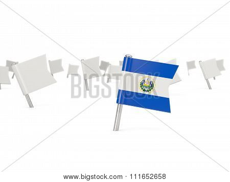 Square Pin With Flag Of El Salvador