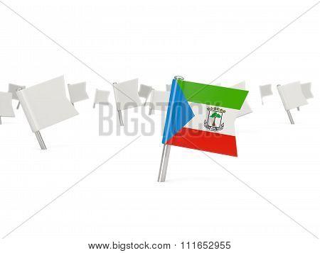 Square Pin With Flag Of Equatorial Guinea