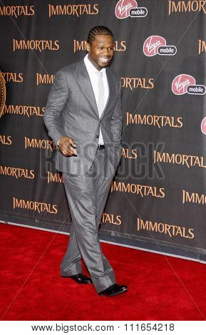 LOS ANGELES, CALIFORNIA - November 7, 2011. 50 Cent at the World premiere of