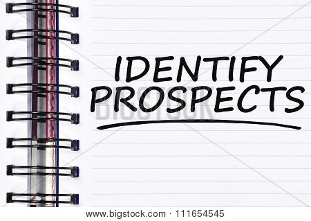 Identify Prospects Words On Spring Note Book
